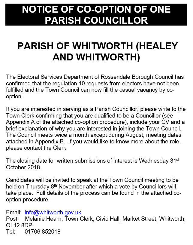 Whitworth Town Council has a vacancy for a co-opted councillor